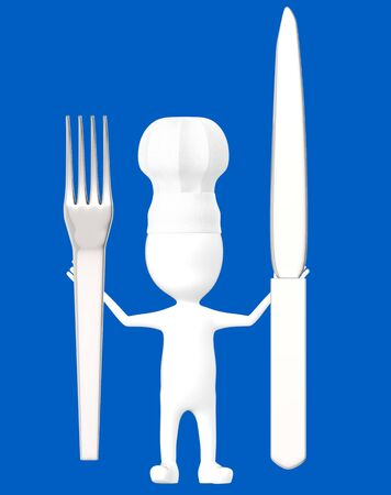 3d white character , chef with a fork and knife -blue background- 3d rendering Banco de Imagens