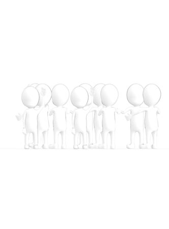 3d white character crowd disccussion- 3d rendering Zdjęcie Seryjne