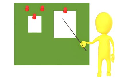 3d yellow character holding a stick and pointing it towards a green board with pinned papers - 3d rendering