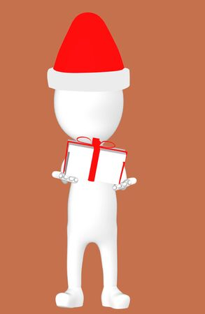 3d white character wearing a xmas cap and holding wrapped gift -brown background- 3d rendering