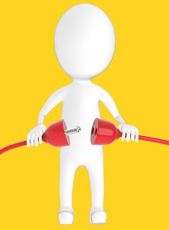 3d white character plug in or take out male and female connector- yellow background - 3d rendering