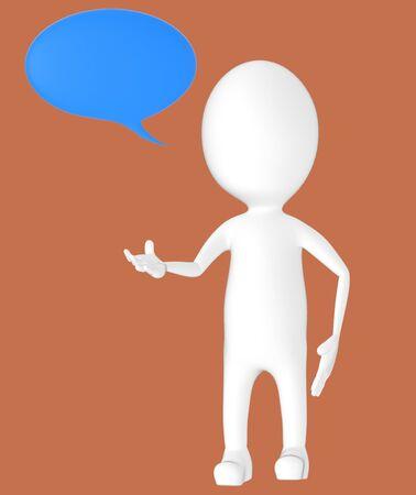 3d white character, speech bubble -brown background- 3d rendering Zdjęcie Seryjne