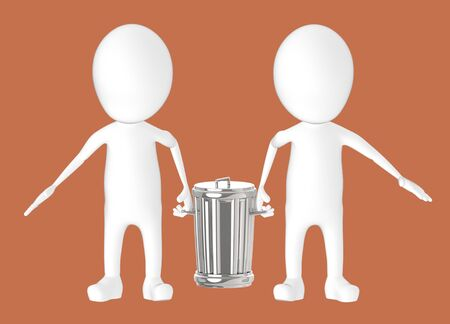 3d white character - two character carrying recycle bin -brown background- 3d rendering