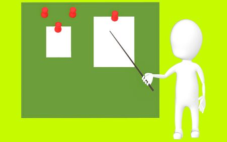 3d white character holding a stick and pointing it towards a green board with pinned papers -green background- 3d rendering