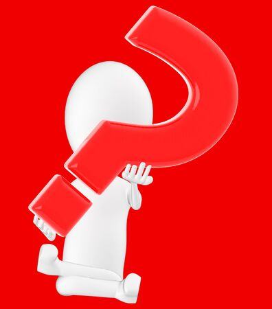 3d white character , holding a question mark -red background- 3d rendering