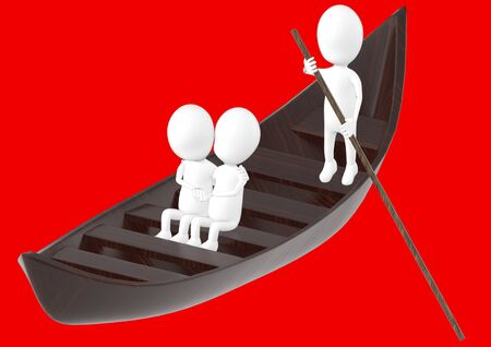 3d white character , couples on boat , while another characer rowing the boat -red background- 3d rendering