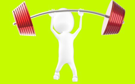 3d white character lifting weights -3d rendering Stock fotó - 134047292
