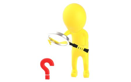 3d yellow character holding a magnifier in hands and looking question mark through it - 3d rendering 写真素材