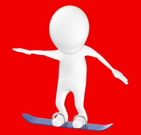 3d white character , snow skating -red background- 3d rendering