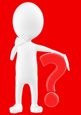 3d white character , question mark -red background- 3d rendering 写真素材