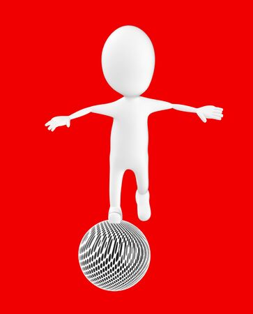 3d white character , balancing on a ball -red background- 3d rendering Stock fotó