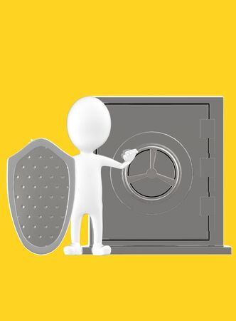 3d white character with a shield protecting a locker- yellow background - 3d rendering