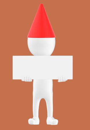 3d white character wearing a cone cap and holding a white empty board -brown background- 3d rendering Banco de Imagens