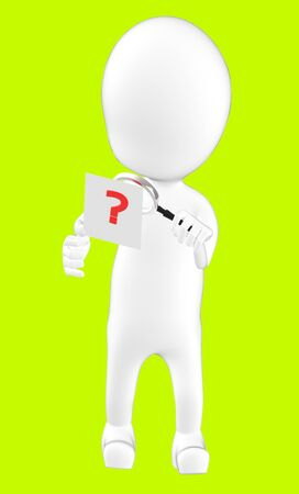 3d white character examining a question mark using a maginifier -green background- 3d rendering 写真素材
