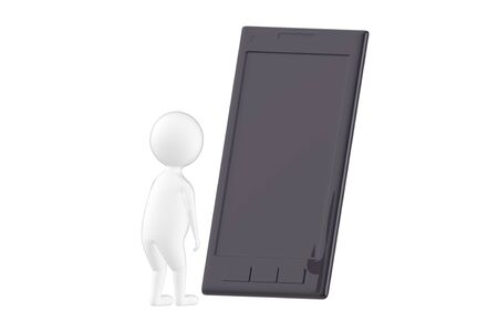 3d character , man looking at a large empty screen smartphone- 3d rendering