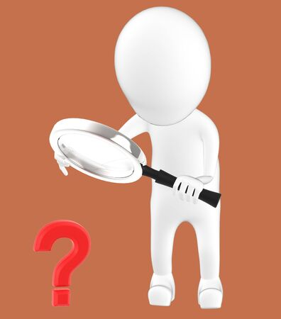 3d white character holding a magnifier in hands and looking question mark through it -brown background- 3d rendering 写真素材