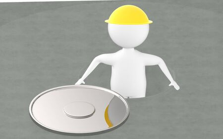 3d character , man in a opened manhole- 3d rendering Imagens - 134047527