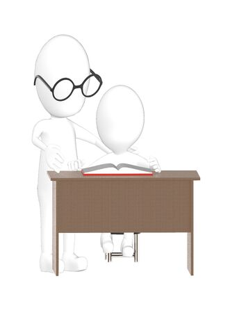 3d character , man teacher and student- 3d rendering