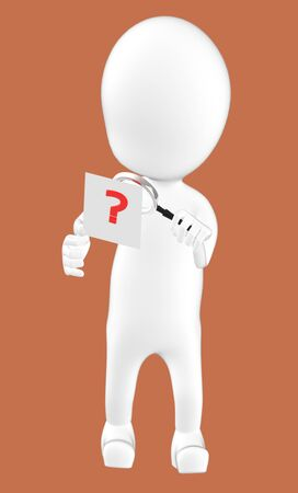 3d white character examining a question mark using a maginifier -brown background- 3d rendering