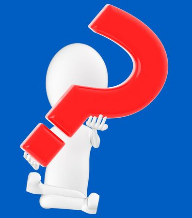 3d white character , holding a question mark -blue background- 3d rendering