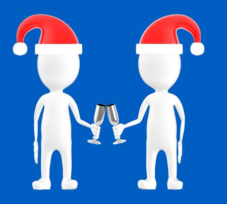 3d white character , two character wearing xmas cap and clinking glasses -blue background- 3d rendering
