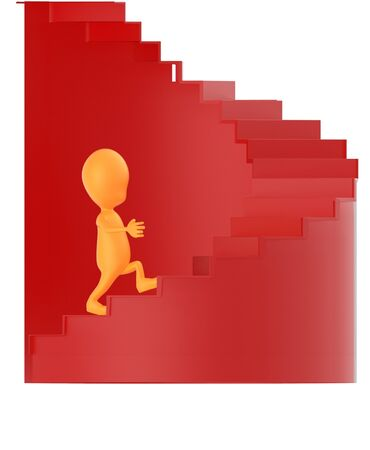 3d orange character walking up on spiral stairs - 3d rendering