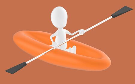 3d white character , rowing a boat -brown background- 3d rendering