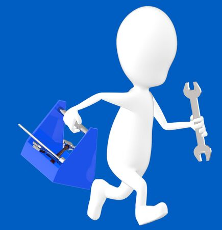 3d white character holding a toolkit and a wrench in his hands and running -blue background- 3d rendering Imagens - 134047619