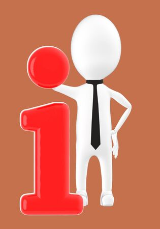 3d white character leaning on information icon -brown background- 3d rendering