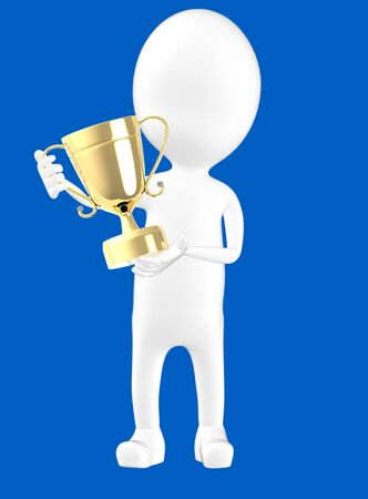 3d white character holding a trophy -blue background- 3d rendering