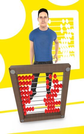 3d character , man and a abacus - yellow background- 3d rendering