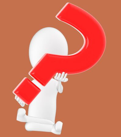 3d white character , holding a question mark -brown background- 3d rendering