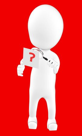 3d white character examining a question mark using a maginifier -red background- 3d rendering