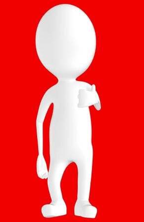 3d white character showing thumbs up hand gesture -red background- 3d rendering Reklamní fotografie