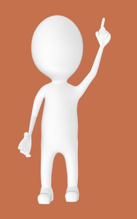 3d white character , pointing his hands upward -brown background- 3d rendering