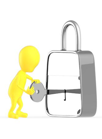 3d yellow character insterting a key in to a lock , unlocking , locking - 3d rendering Stock Photo