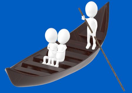 3d white character , couples on boat , while another characer rowing the boat -blue background- 3d rendering