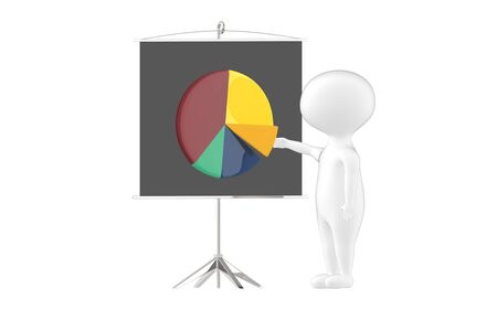 3d character , man , presentation board and pie chart- 3d rendering