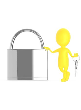3d yellow character leaning his hand over a lock and holding keys on his other hand - 3d rendering