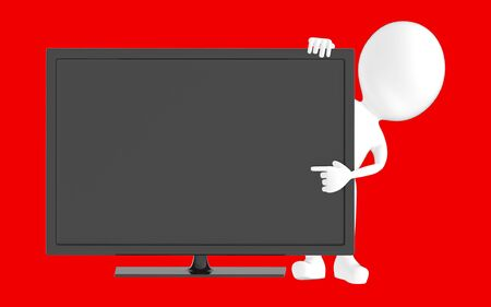 3d white character , pointing his hand towards television screen -red background- 3d rendering