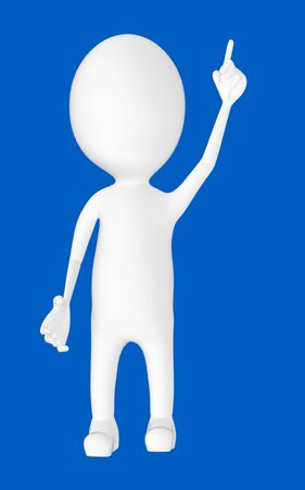 3d white character , pointing his hands upward -blue background- 3d rendering 版權商用圖片