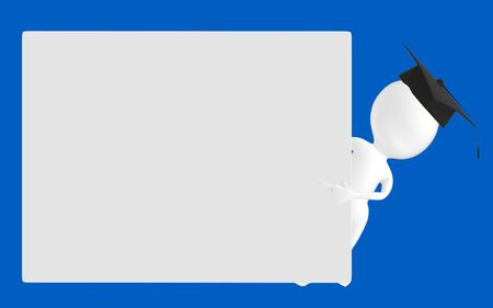 3d white character , graduated character pointing his hands towards a empty board -blue background- 3d rendering Reklamní fotografie