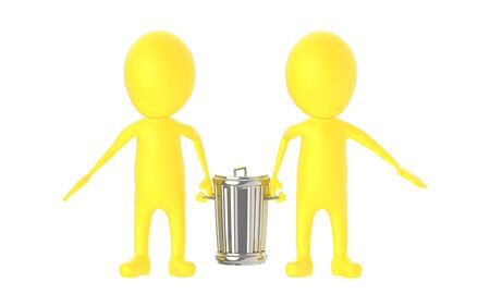 3d yellow character - two character carrying recycle bin - 3d rendering