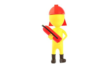 3d yellow character wearing a safety helmet and holding a fire extinguisher in hand - 3d rendering