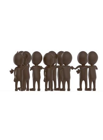 3d brown character crowd disccussion- 3d rendering