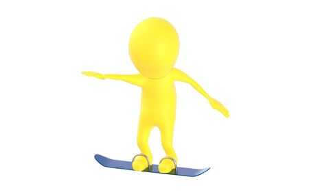 3d yellow character , snow skating - 3d rendering