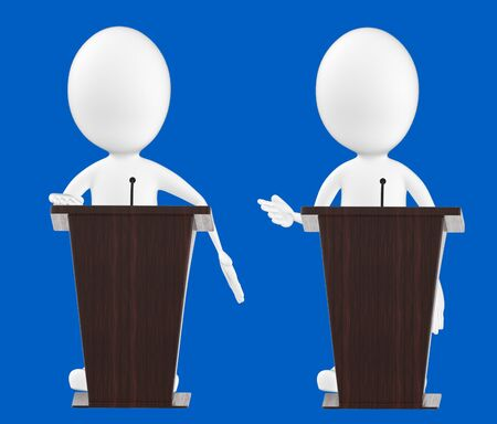 3d white character , character in a podium -blue background- 3d rendering