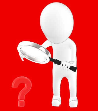 3d white character holding a magnifier in hands and looking question mark through it -red background- 3d rendering 写真素材