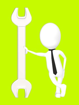 3d white character leading his hand towards a wrench-green background- 3d rendering Imagens - 134047807
