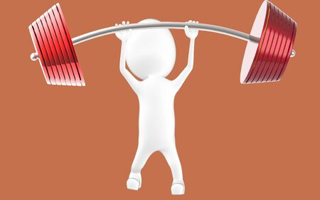 3d white character lifting weights -3d rendering Stock fotó - 134047805